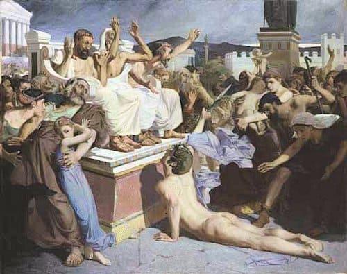 Pintura de la llegada de Fidípides a Atenas, por Luc-Olivier Merson, 1869.
